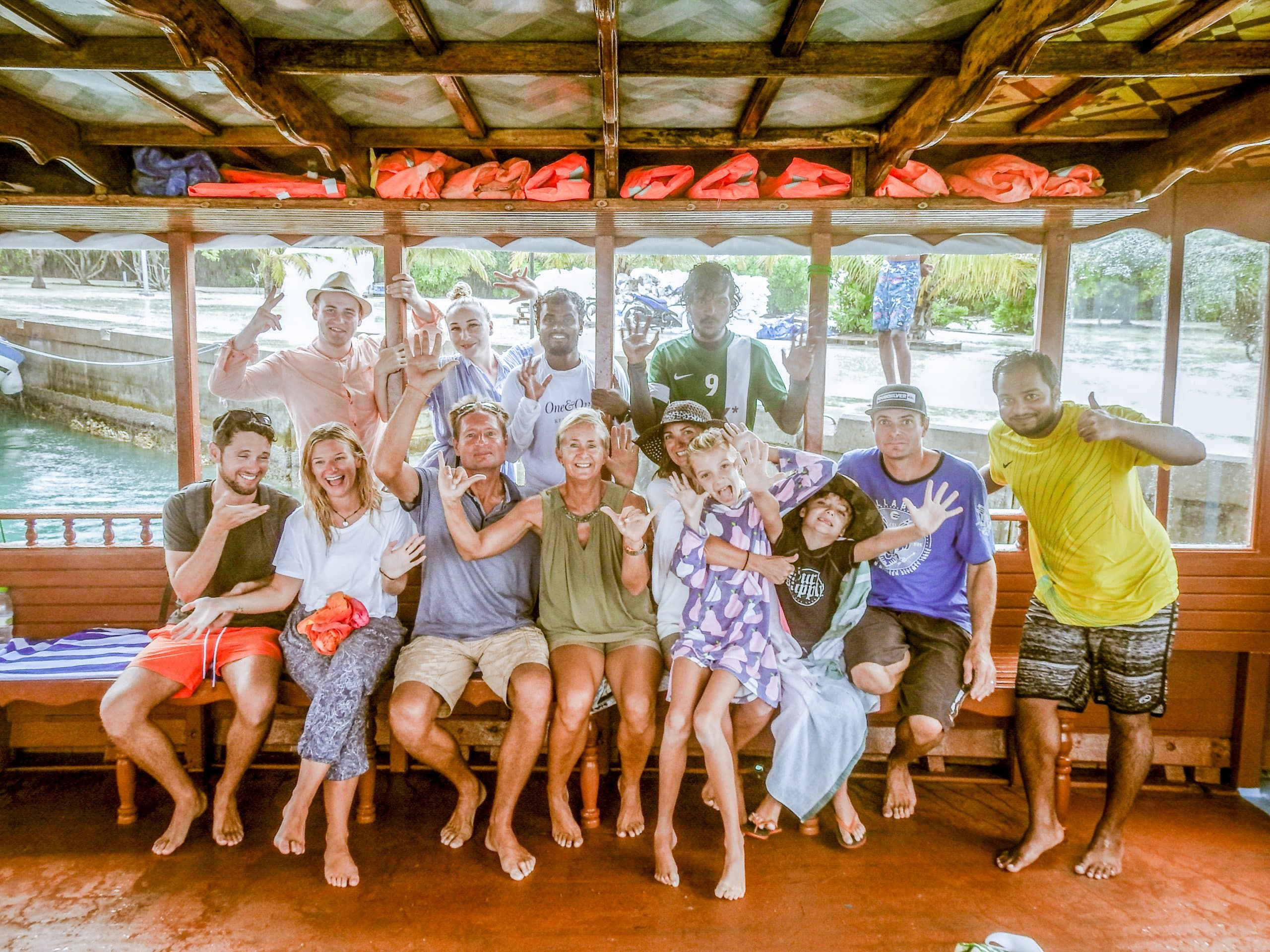 Group excursion - Bliss Dhigurah's guests on the excursion boat ready for whale shark snorkeling